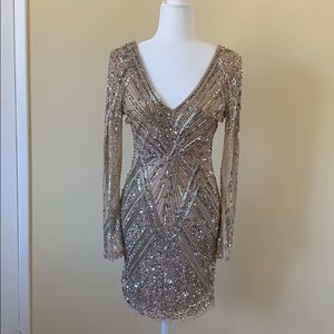 Gold sequin mini dress from Parker